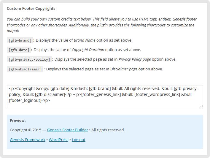 Custom Copyright Area