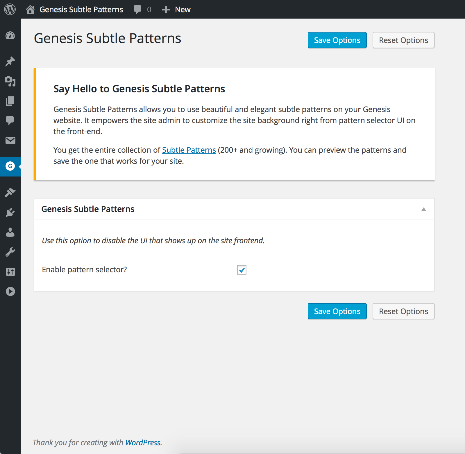 Disable the pattern selector UI