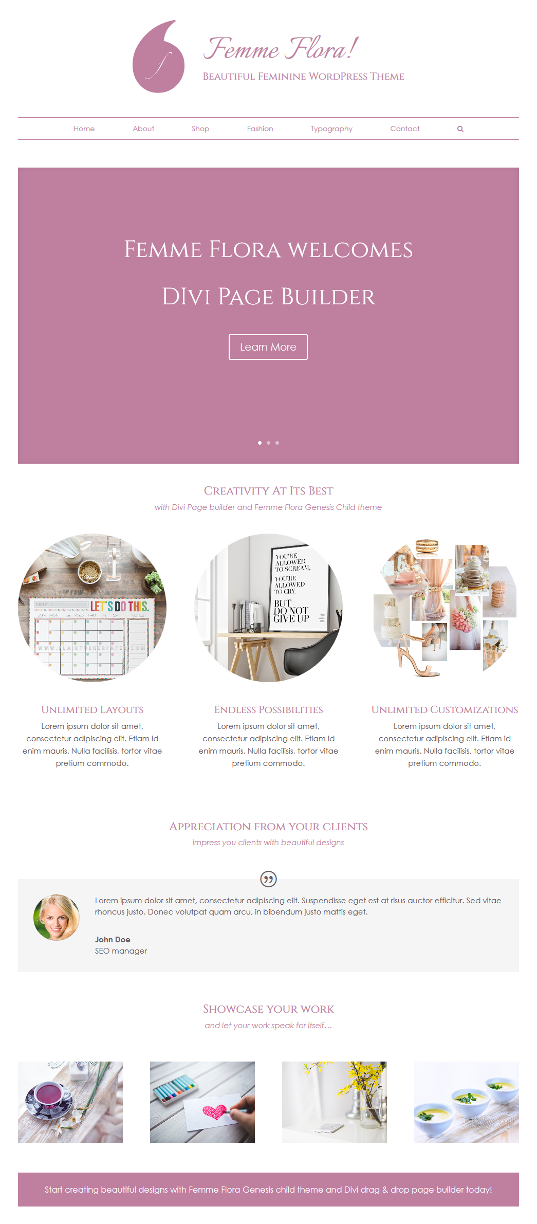 Divi Page Builder With Femme Flora Genesis Child Theme