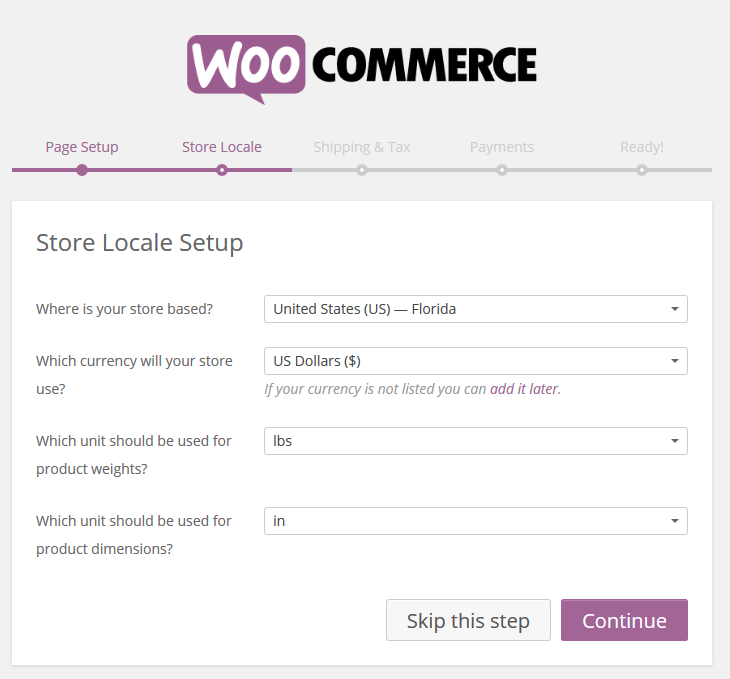 WooCommerce › Store Locale