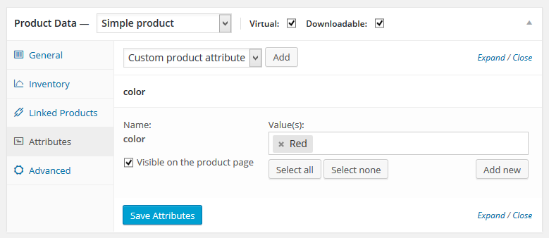 Product Data-attributes