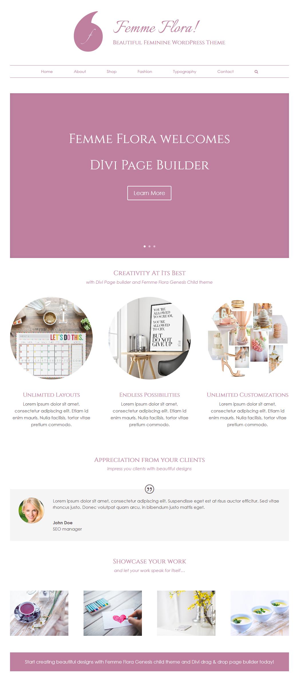 Divi Page Builder With Femme Flora Genesis Child Theme