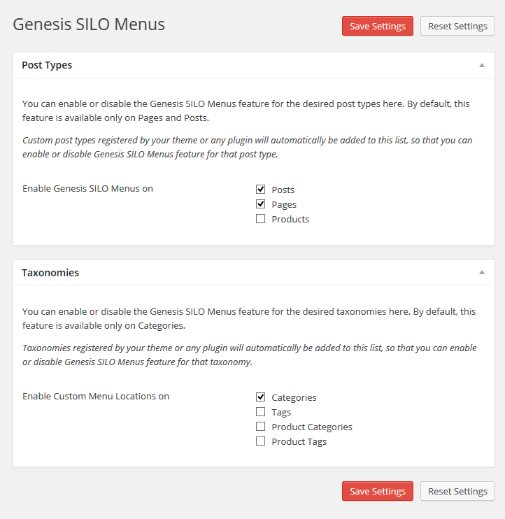 Genesis SILO Menus Settings
