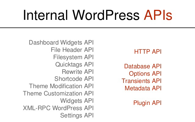 WordPress APIs