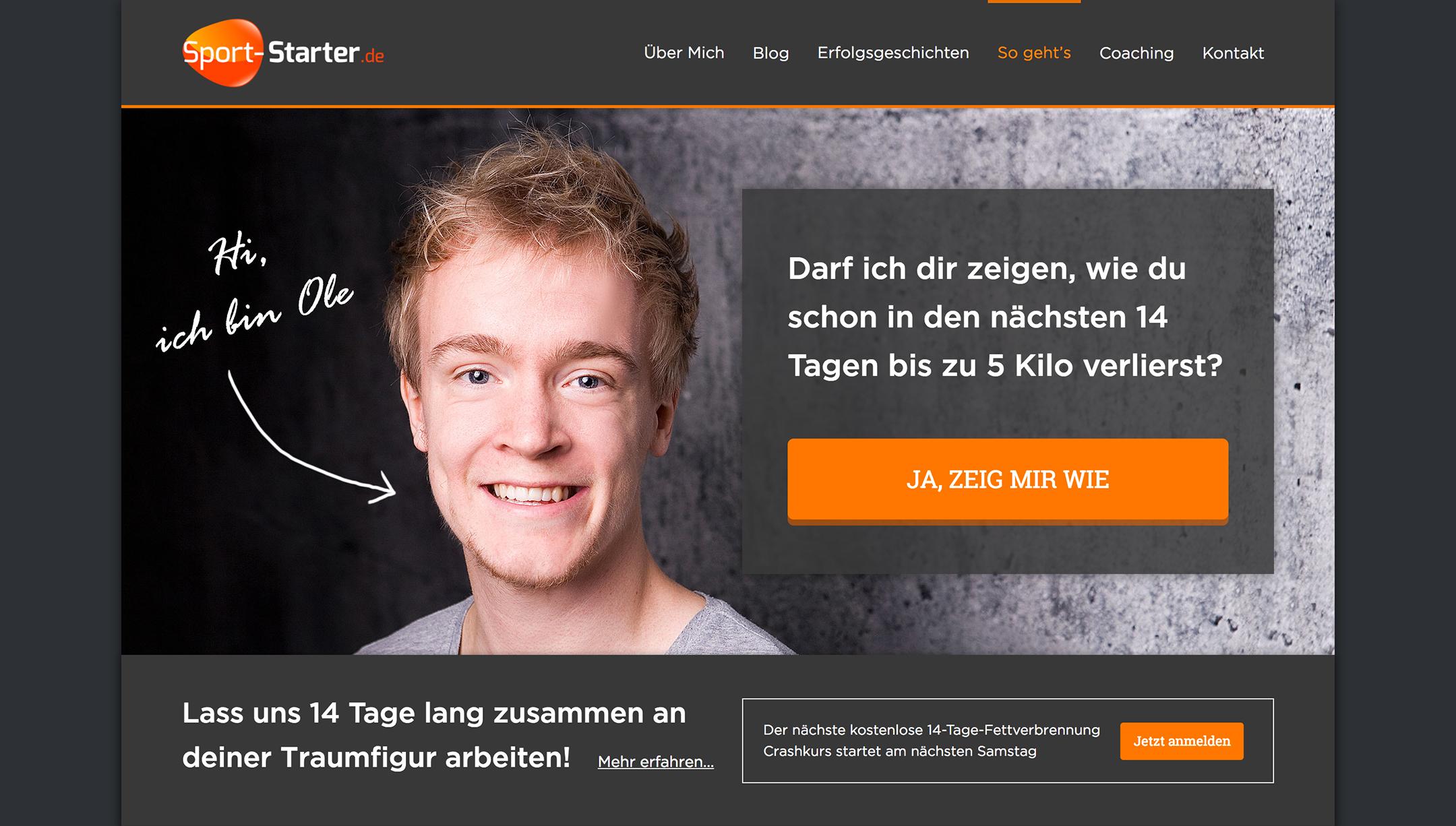 Complete Website Design for Sport Starter