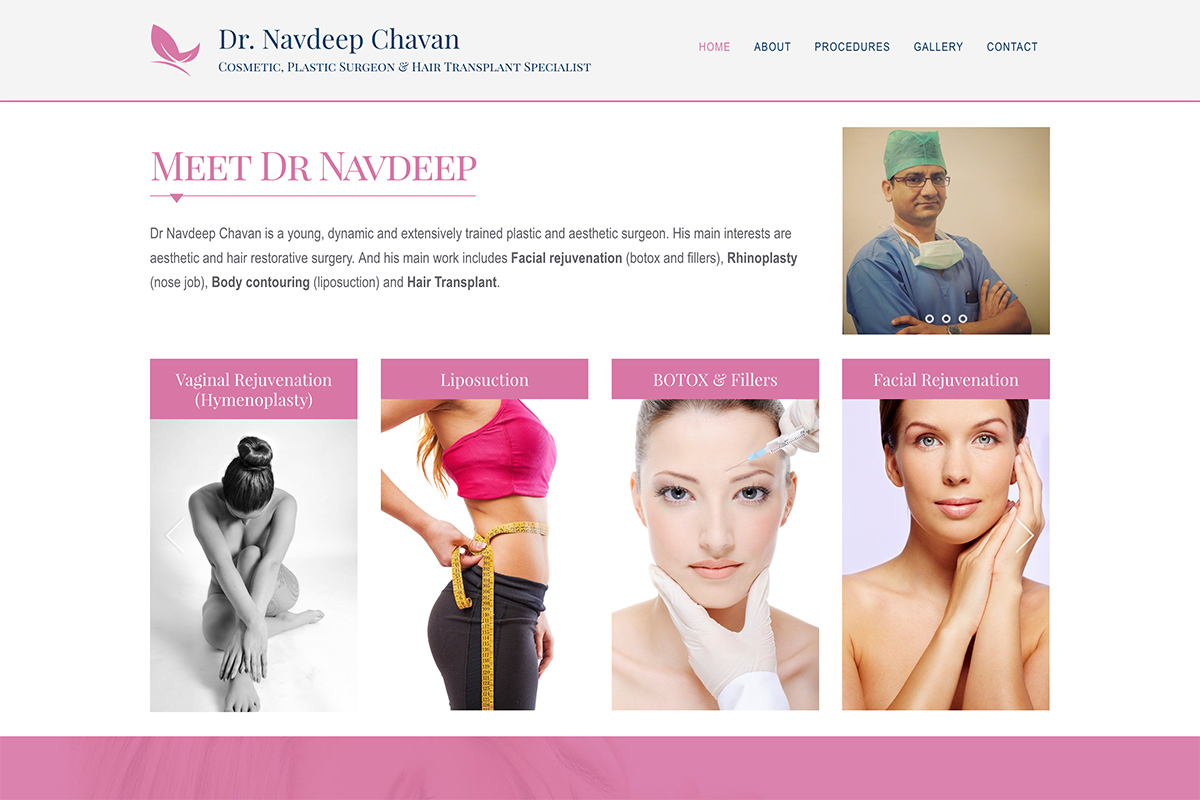 homepage design for DrNavdeepChavan.Com