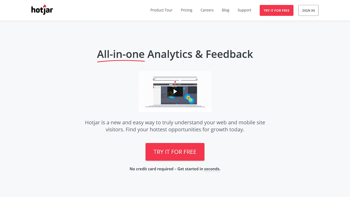 Hotjar website and mobile analytics tool
