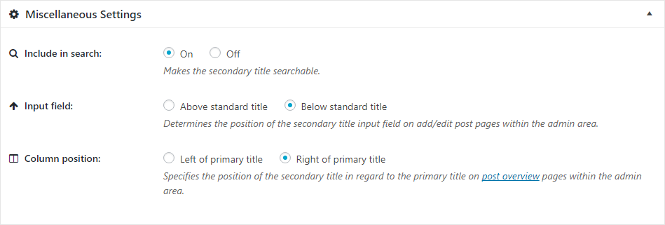 Miscellaneous Settings — Secondary Title
