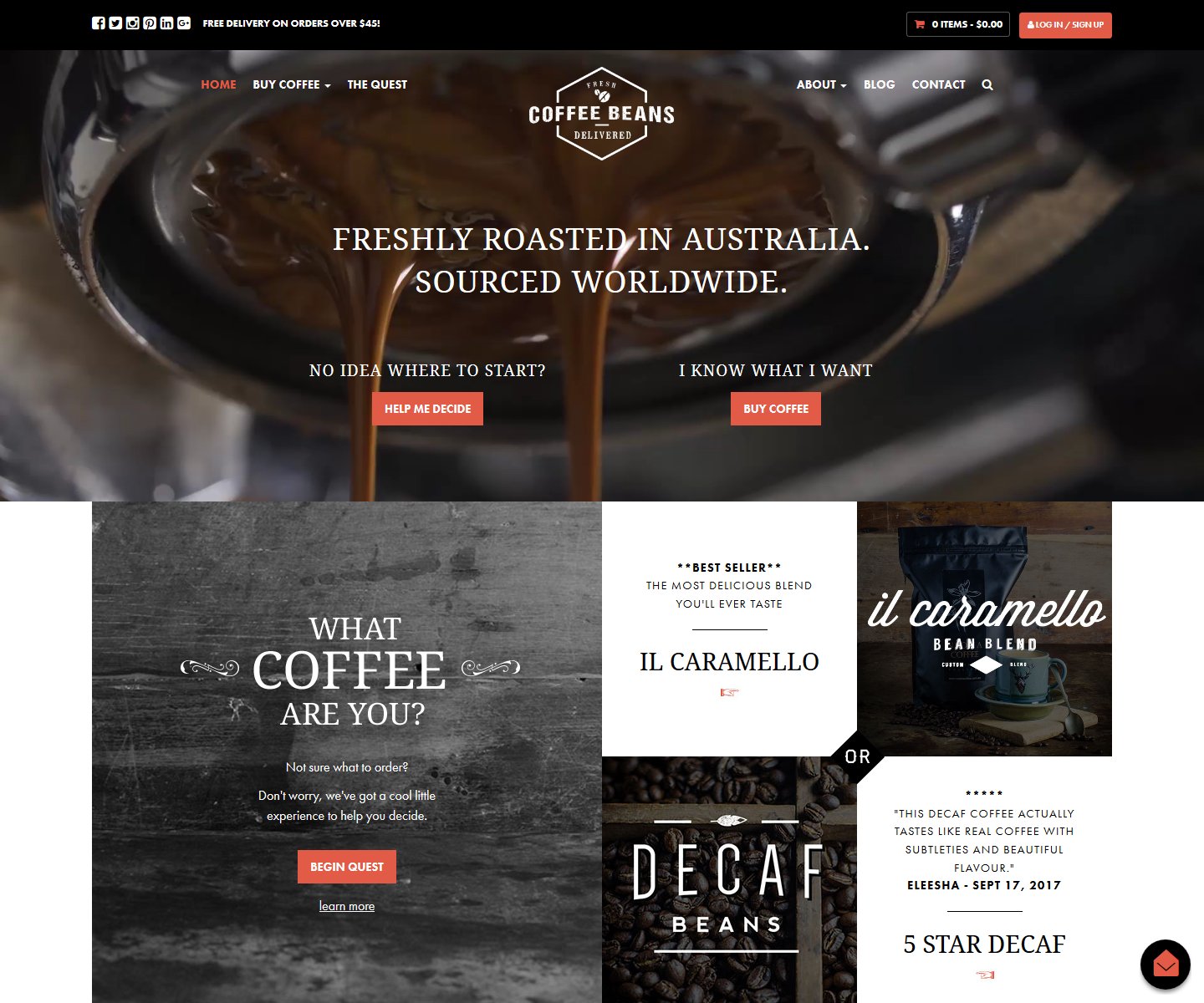 Coffee Beans Delivered Ecommerce Site