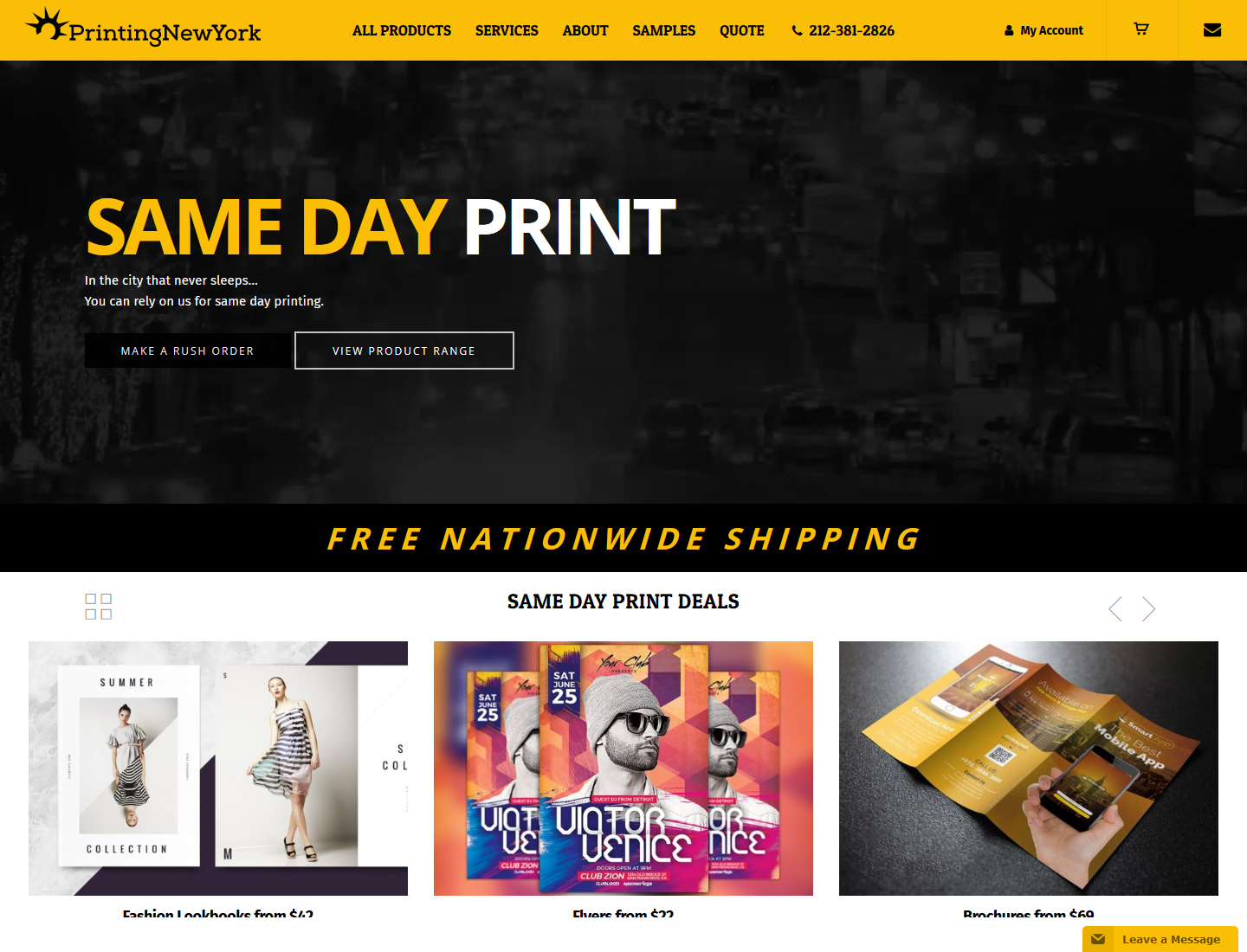 Printing New York WordPress ecommerce site