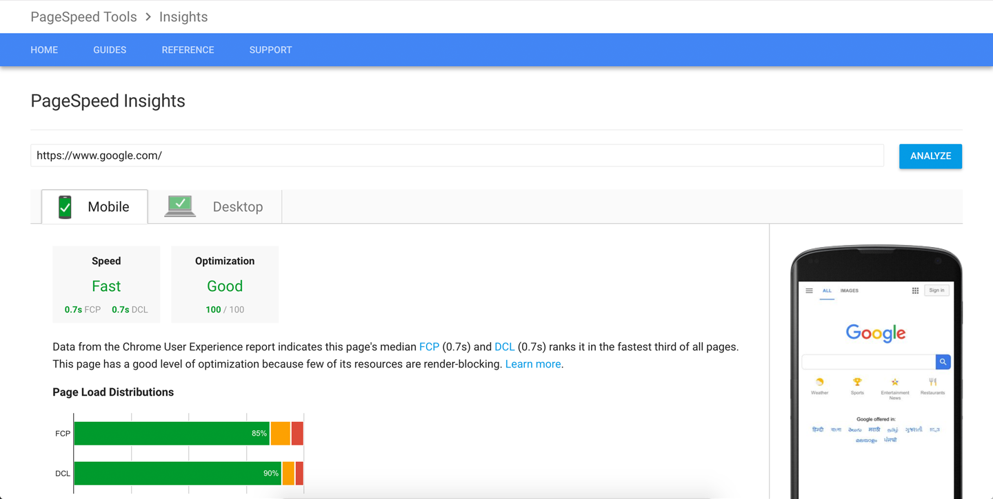google pagespeed insights for testing pagespeed