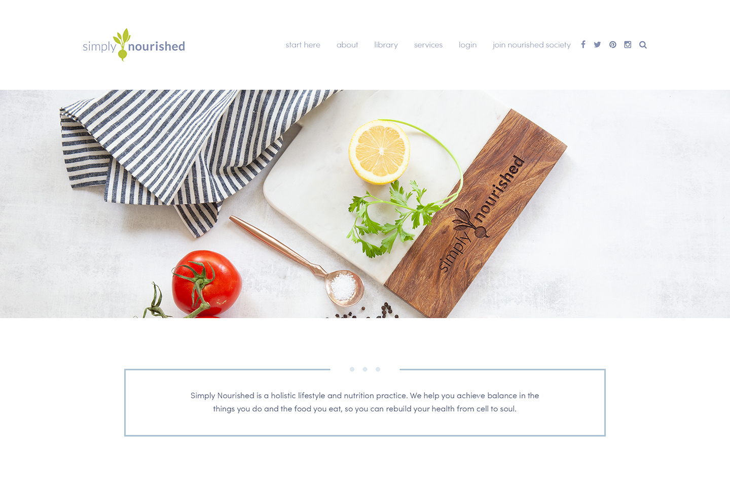 Website redesign for Simply Nourished Nutrition