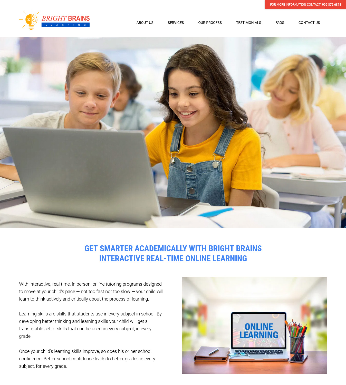 Bright Brains, One Page Website